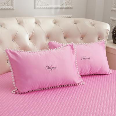 2018新款水洗真丝+纯棉圆床系列单层枕套 48cmx74cm(对) 粉色