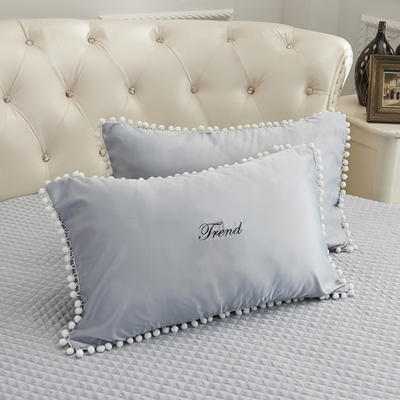 2018新款水洗真丝+纯棉圆床系列单层枕套 48cmx74cm(对) 灰色