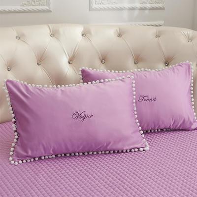 2018新款水洗真丝+纯棉圆床系列单层枕套 48cmx74cm(对) 紫色