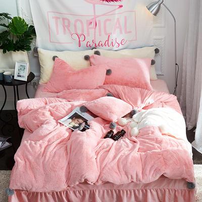 兔兔绒+水晶绒毛球款四件套 1.5m(5英尺)床 兔兔绒毛球--粉色(四件套)