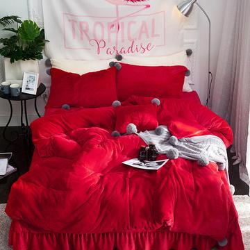 兔兔绒+水晶绒毛球款四件套 1.5m(5英尺)床 兔兔绒毛球--红色(四件套)