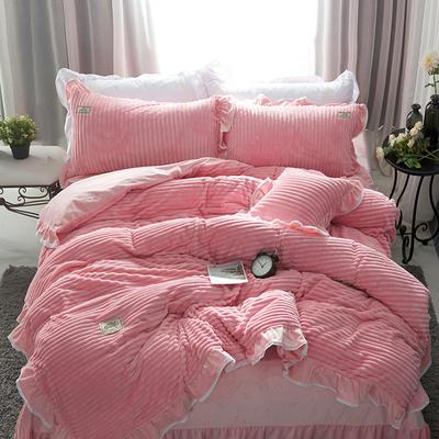 兔兔绒压条+水晶绒压条四件套-场景1 1.8m(6英尺)床 粉色(四件套)