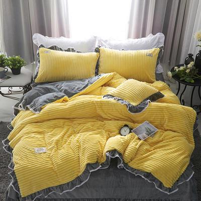 兔兔绒压条+水晶绒压条四件套-场景1 2.0m(6.6英尺)床 柠檬黄+灰(四件套)