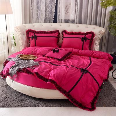2019新款遇见圆床系列--床笠款 直径2米四件套 遇见--玫红
