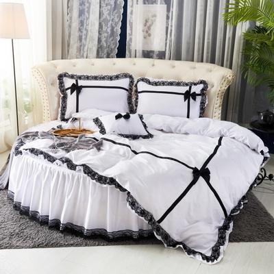 2019新款遇见圆床系列--床裙款 直径2米2四件套 遇见--白色
