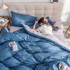 2019新款磨毛刺绣早安系列 1.5m/1.8m(5英尺)床 雾霾蓝