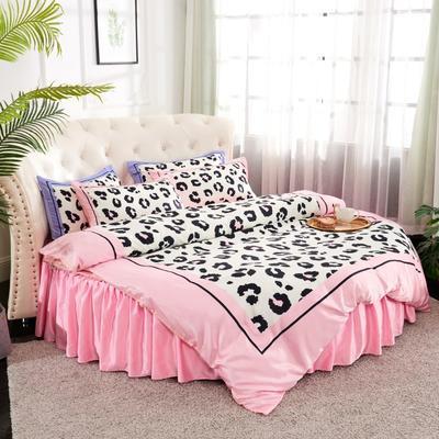 2019新款水洗真絲印花圓床--床裙款四件套 直徑2米 豹紋-粉