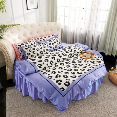 2019新款水洗真絲印花圓床--床裙款四件套 直徑2米 豹紋-藍灰