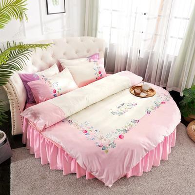 2019新款水洗真絲印花圓床--床裙款四件套 直徑2米 芳香迷情-粉