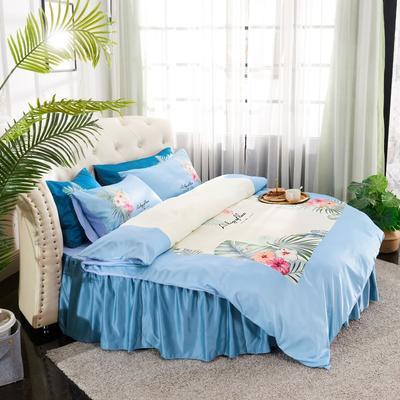 2019新款水洗真絲印花圓床--床裙款四件套 直徑2米 芳香迷情-藍