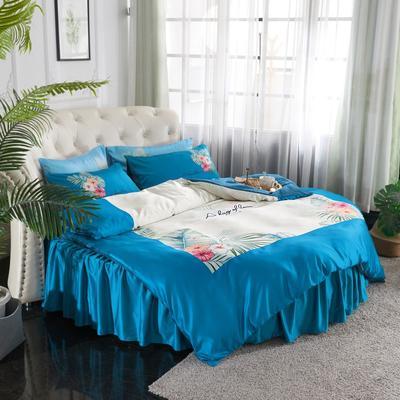 2019新款水洗真絲印花圓床--床裙款四件套 直徑2米 花影-藏藍