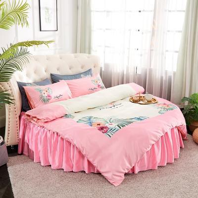 2019新款水洗真絲印花圓床--床裙款四件套 直徑2米 花影-粉