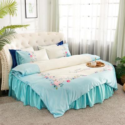 2019新款水洗真絲印花圓床--床裙款四件套 直徑2米 花影-藍