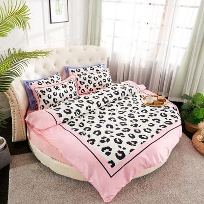 2019新款水洗真絲印花圓床--床笠款四件套 直徑2米 豹紋-粉