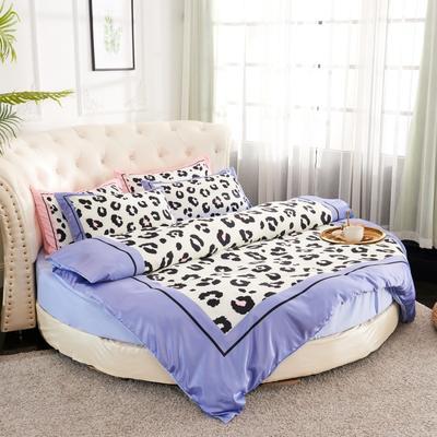 2019新款水洗真絲印花圓床--床笠款四件套 直徑2米 豹紋-藍灰