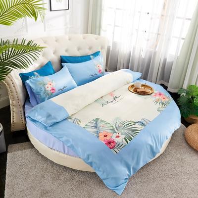 2019新款水洗真絲印花圓床--床笠款四件套 直徑2米 芳香迷情-藍