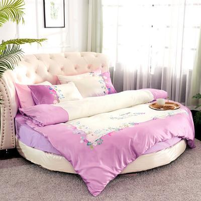 2019新款水洗真絲印花圓床--床笠款四件套 直徑2米 芳香迷情-紫