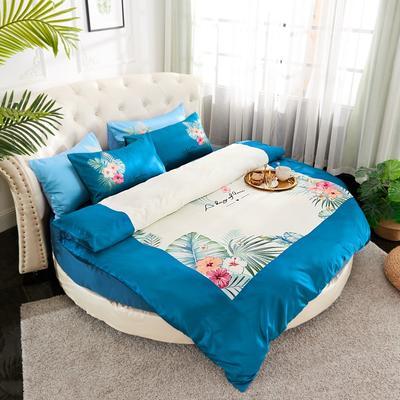 2019新款水洗真絲印花圓床--床笠款四件套 直徑2米 花影-藏藍