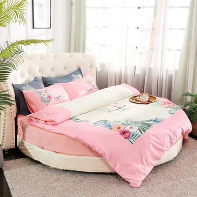 2019新款水洗真絲印花圓床--床笠款四件套 直徑2米 花影-粉