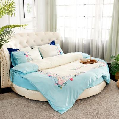 2019新款水洗真絲印花圓床--床笠款四件套 直徑2米 花影-藍