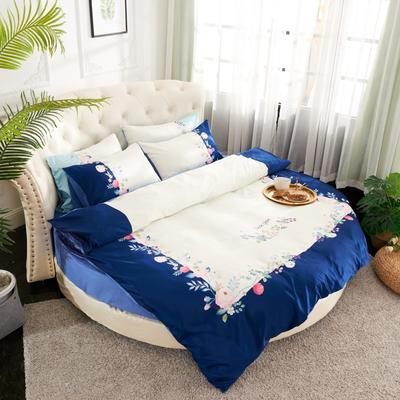 2019新款水洗真絲印花圓床--床笠款四件套 直徑2米 芳香迷情-藏藍