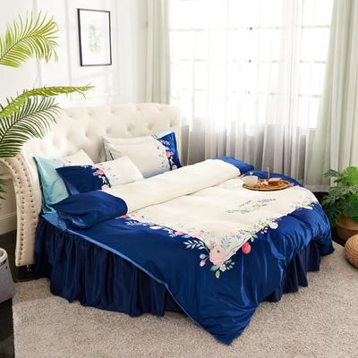 2019新款水洗真絲印花圓床--床裙款四件套 直徑2米 芳香迷情-藏藍
