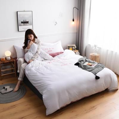 2019新款亲肤保暖宝宝绒水晶绒牛奶绒(早安)四件套 1.8m床单款四件套 白色