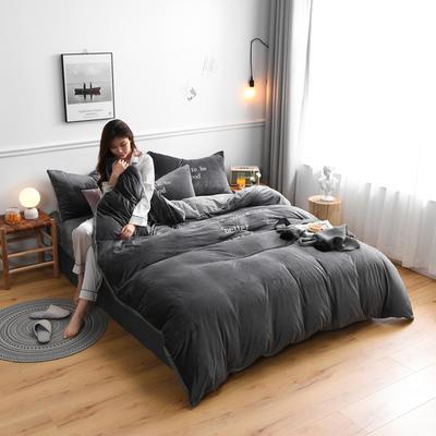 2019新款亲肤保暖宝宝绒水晶绒牛奶绒(早安)四件套 1.8m床单款四件套 灰色