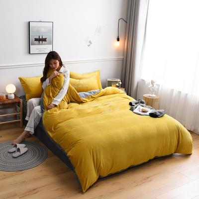 2019新款亲肤保暖宝宝绒水晶绒牛奶绒(早安)四件套 1.8m床单款四件套 姜黄