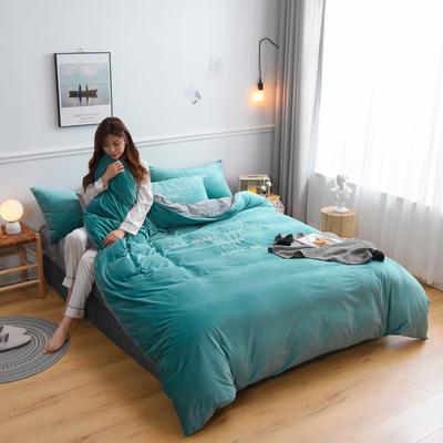 2019新款亲肤保暖宝宝绒水晶绒牛奶绒(早安)四件套 1.8m床单款四件套 绿色
