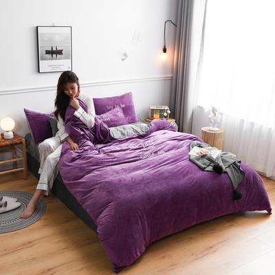 2019新款亲肤保暖宝宝绒水晶绒牛奶绒(早安)四件套 1.8m床单款四件套 紫色