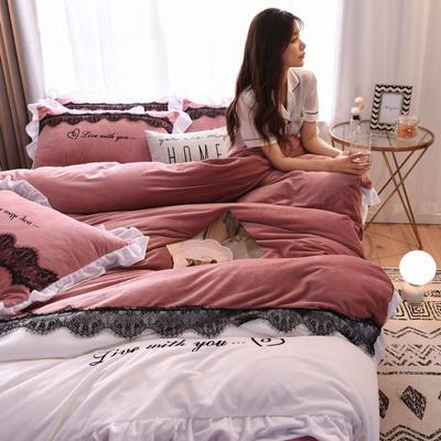 2019新款亲肤保暖宝宝绒水晶绒牛奶绒(依恋)四件套 1.8m床单款四件套 依恋-豆沙