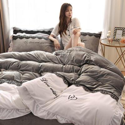 2019新款亲肤保暖宝宝绒水晶绒牛奶绒(依恋)四件套 1.8m床单款四件套 依恋-灰色