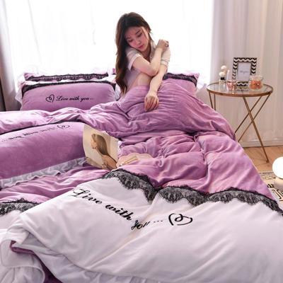 2019新款亲肤保暖宝宝绒水晶绒牛奶绒(依恋)四件套 1.8m床单款四件套 依恋-紫色