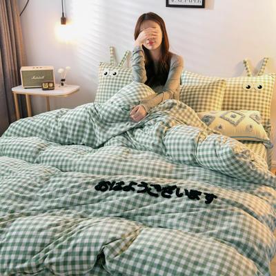 2019新款亲肤保暖宝宝绒水晶绒牛奶绒(小怪兽)四件套 1.8m床单款四件套 绿色
