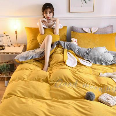 2019新款亲肤保暖宝宝绒水晶绒牛奶绒(迷你兔)四件套 1.2m床单款三件套 迷你兔-姜黄