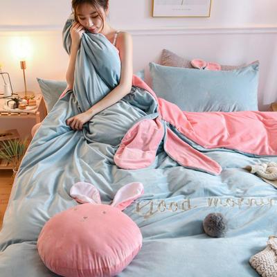 2019新款亲肤保暖宝宝绒水晶绒牛奶绒(迷你兔)四件套 1.2m床单款三件套 迷你兔-蓝玉