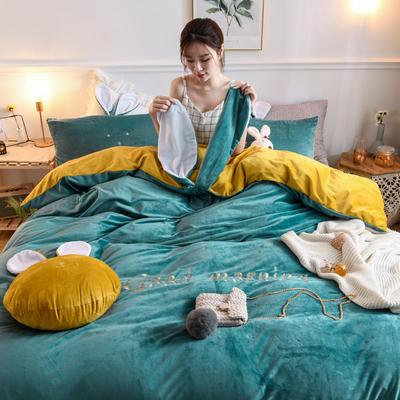 2019新款亲肤保暖宝宝绒水晶绒牛奶绒(迷你兔)四件套 1.2m床单款三件套 迷你兔-绿黄