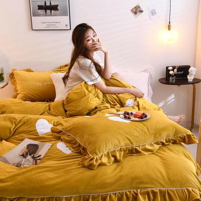 2019新款宝宝绒水晶绒牛奶绒贴布绣四件套-心愿 1.5m床单款四件套 心愿-姜黄
