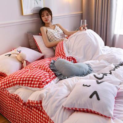 2019新款亲肤保暖宝宝绒水晶绒牛奶绒系列(总) 1.2m床单款三件套 亲亲熊-白色