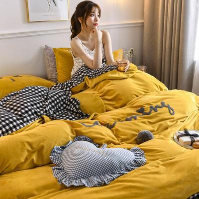 2020新款亲肤保暖宝宝绒水晶绒牛奶绒系列(总) 1.5m床单款四件套 亲亲熊-姜黄