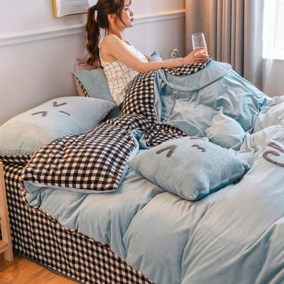2020新款亲肤保暖宝宝绒水晶绒牛奶绒系列(总) 1.5m床单款四件套 亲亲熊-兰灰