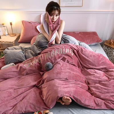 2019新款亲肤保暖宝宝绒水晶绒牛奶绒系列(总) 1.8m床笠款四件套 迷你兔-豆沙