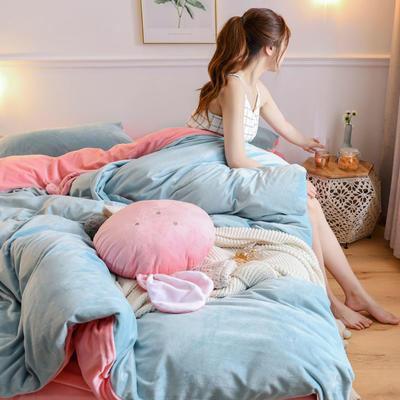 2019新款亲肤保暖宝宝绒水晶绒牛奶绒系列(总) 1.8m床笠款四件套 迷你兔-蓝玉