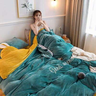 2019新款親膚保暖寶寶絨水晶絨牛奶絨系列(總) 1.2m床單款三件套 迷你兔-綠黃
