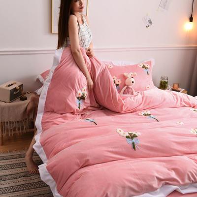 2019新款宝宝绒水晶绒牛奶绒毛巾绣四件套(总) 1.5m床单款四件套 小雏菊-玉色
