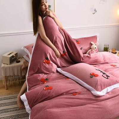2019新款宝宝绒水晶绒牛奶绒毛巾绣四件套(总) 1.2m床单款三件套 樱桃-豆沙