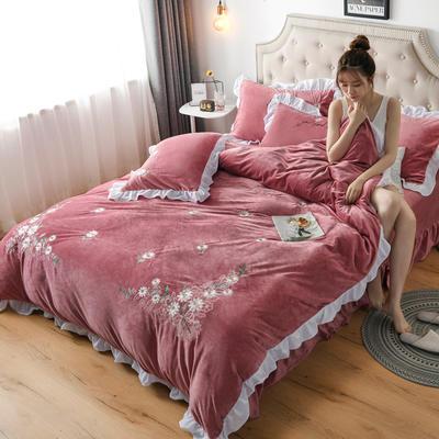 2019新款寶寶絨水晶絨牛奶絨電腦刺繡四件套(總) 1.5m床單款四件套 初戀-豆沙