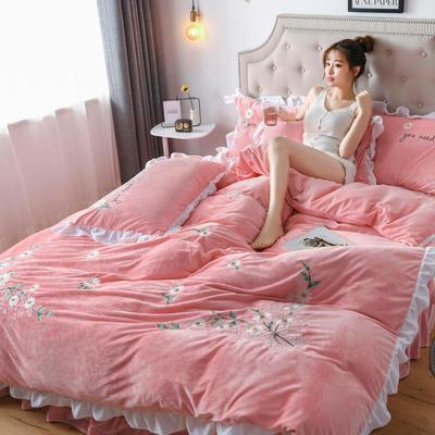 2019新款宝宝绒水晶绒牛奶绒电脑刺绣四件套(总) 1.5m床单款四件套 初恋-玉色