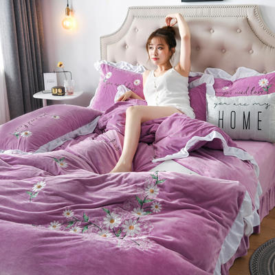 2019新款宝宝绒水晶绒牛奶绒电脑刺绣四件套(总) 1.5m床单款四件套 初恋-紫色